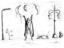 Zwarte pentekening met metafysische inhoud vector illustratie