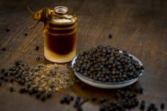 Zwarte peper met zijn olie royalty-vrije stock foto