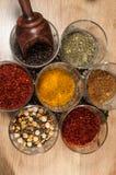 Zwarte peper, munt, Spaanse peper, carcuma, diverse kruiden in glaswerk royalty-vrije stock foto