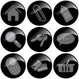 Zwarte Pictogrammen royalty-vrije stock afbeeldingen