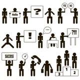 Zwarte pictogrammen van mensen die verschillende acties uitvoeren Royalty-vrije Stock Foto