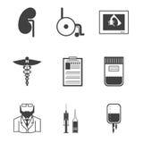 Zwarte pictogrammen voor nefrologie Royalty-vrije Stock Foto's