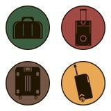 Zwarte pictogrammenkoffers voor reis Stock Foto's