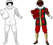Zwarte Piet Black Pete with book Stock Image