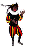 Zwarte piet ( black pete) typical Dutch. Character part of a traditional event celebrating the birthday of Sinterklaas in december over white background Royalty Free Stock Photography