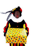Zwarte piet ( black pete) typical Dutch. Character part of a traditional event celebrating the birthday of Sinterklaas in december over white background with Royalty Free Stock Photo
