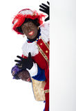 Zwarte Piet com whiteboard Fotos de Stock Royalty Free