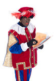 Zwarte Piet with drawings of the children Royalty Free Stock Photo