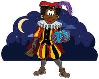 Zwarte Piet Holding ein Geschenk Stockbilder