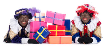 Zwarte Piet with a lot of presents Stock Photos