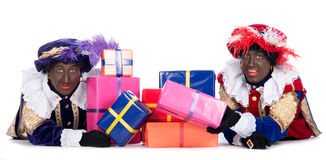 Zwarte Piet with a lot of presents Royalty Free Stock Images