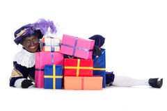 Zwarte Piet with a lot of presents Royalty Free Stock Image