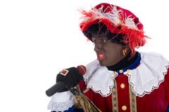 Zwarte Piet is singing Royalty Free Stock Photography