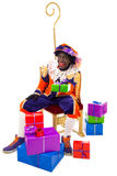 Zwarte piet sinterklaas (black pete). Zwarte piet.clipping path included  .typical Dutch character part of a traditional event celebrating the birthday of Stock Photography