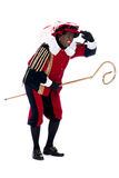 Zwarte Piet with the staff of Sinterklaas Royalty Free Stock Images