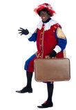 Zwarte Piet with suitcase Stock Images