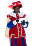 Zwarte Piet with a tablet Stock Image