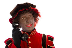 Zwarte Piet with telephone Stock Photo