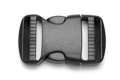 Zwarte plastic Fastex-klem voor rugzakken op een witte achtergrond royalty-vrije stock foto's