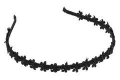 Zwarte plastic hoofdband met textiel geïsoleerd bloemenontwerp, Royalty-vrije Stock Foto's