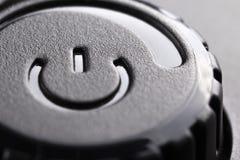 Zwarte plastic macht van knoop met machtsaanpassing stock foto's