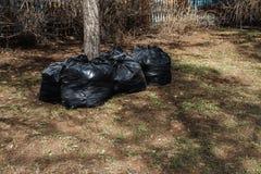 Zwarte plastic vuilniszak Stock Foto's