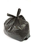 Zwarte plastic zak met afval Royalty-vrije Stock Afbeelding