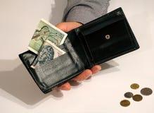 Zwarte portefeuille in mensen` s hand, met sommige papiergeld en muntstukken stock afbeelding