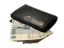 Zwarte Portefeuille met Geld Royalty-vrije Stock Afbeelding