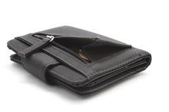 Zwarte portefeuille met muntstukken Royalty-vrije Stock Fotografie