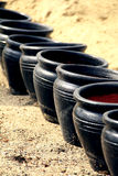 Zwarte potten Stock Foto
