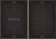 Zwarte prentbriefkaar met patronen Het inschrijvings` menu ` Royalty-vrije Stock Foto