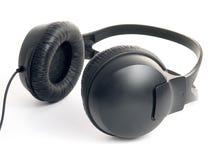 Zwarte professionele hoofdtelefoons Stock Foto
