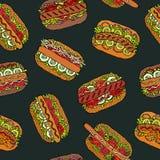 Zwarte Raad Hotdog en Van letters voorziend Naadloos Eindeloos Patroon velen Restaurant of Koffiemenuachtergrond De Inzameling va royalty-vrije illustratie