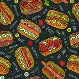 Zwarte Raad Hotdog en Van letters voorziend Naadloos Eindeloos Patroon velen Restaurant of Koffiemenuachtergrond De Inzameling va vector illustratie