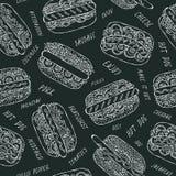 Zwarte Raad Hotdog en Van letters voorziend Naadloos Eindeloos Patroon velen Restaurant of Koffiemenuachtergrond De Inzameling va stock illustratie