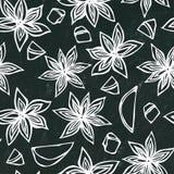 Zwarte raadsachtergrond Anise Star Seed Seamless Endless-Patroon Seizoengebonden voedselachtergrond Kruid en Aroma Overwogen Wijn Stock Fotografie