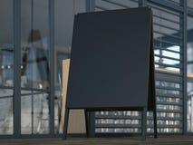 Zwarte reclametribune dichtbij koffie het 3d teruggeven Stock Afbeeldingen
