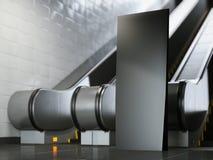 Zwarte reclametribune dichtbij roltrap het 3d teruggeven Royalty-vrije Stock Afbeeldingen