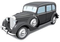 Zwarte retro auto Royalty-vrije Stock Afbeeldingen