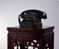 Zwarte retro telefoon Royalty-vrije Stock Afbeelding