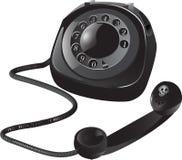 Zwarte Retro Telefoon stock illustratie