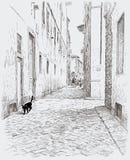 Zwarte richels in de oude stad Stock Afbeeldingen