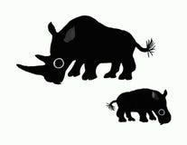 Zwarte rinocerossen royalty-vrije illustratie