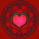 Zwarte/Rode Harten & Wervelingen Royalty-vrije Stock Afbeelding