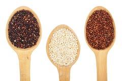 Zwarte rode witte quinoa zaden in houten die lepel op witte achtergrond wordt geïsoleerd Hoogste mening royalty-vrije stock foto