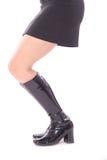 Zwarte rok & leerlaarzenkant Stock Afbeeldingen