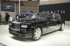 Zwarte rolls-royce gusteau uitgebreide uitgavenauto Royalty-vrije Stock Foto