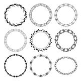 Zwarte ronde decoratieve frames - reeks Royalty-vrije Stock Foto