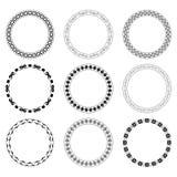 Zwarte ronde kaders met ornament - vectorreeks Royalty-vrije Stock Foto